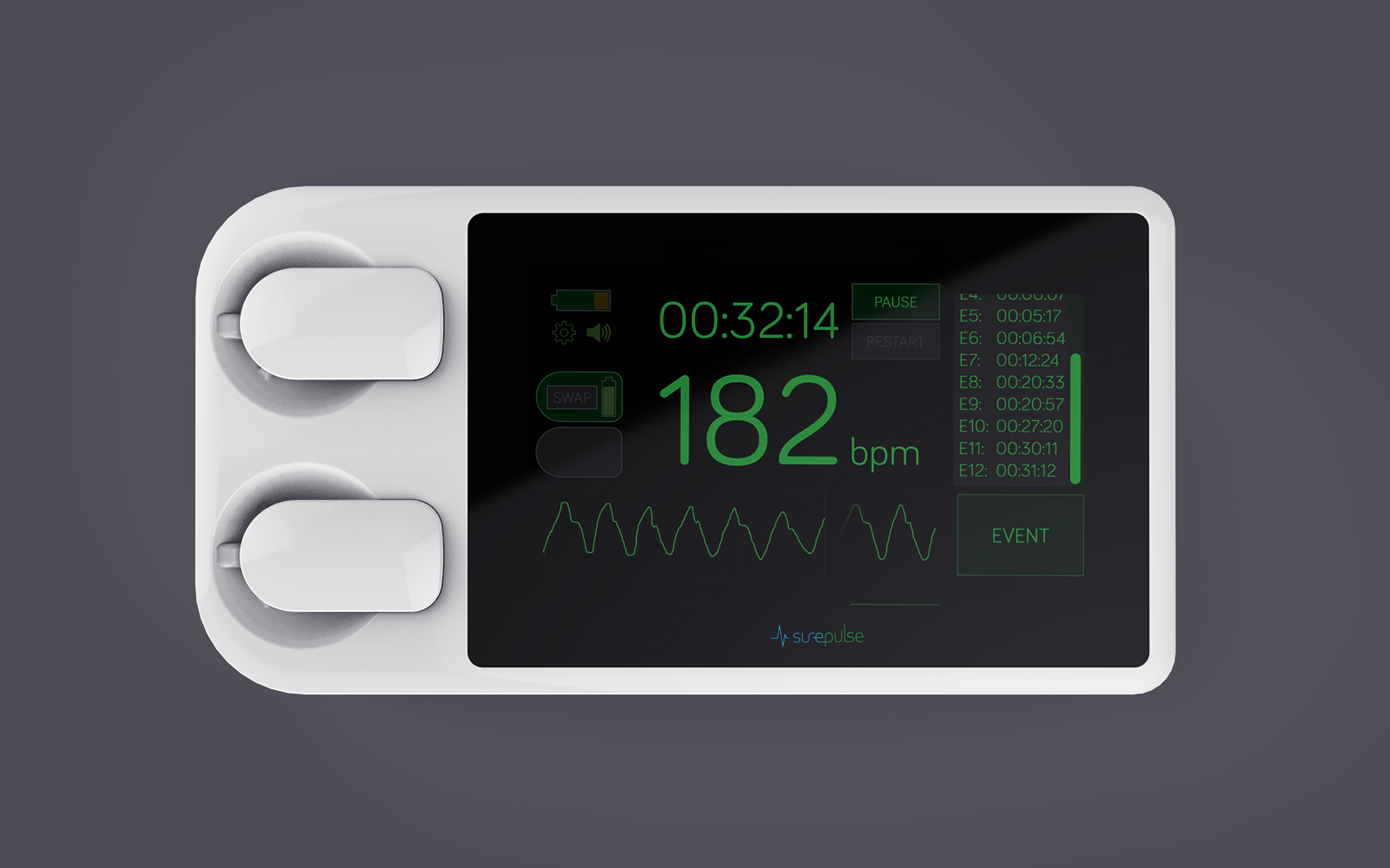 SurePulse - Newborn Baby Heart Rate Monitor User Interface